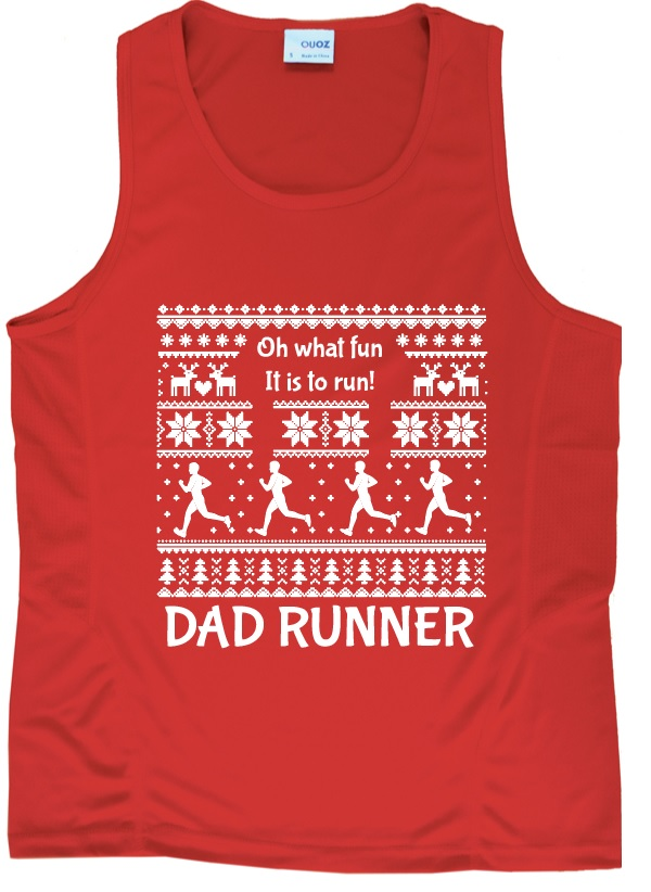 Dad Runner Red Ugly Christmas Singlet