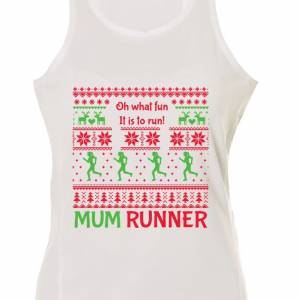 Mum Runner Ugly Christmas Singlet White
