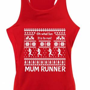 Mum Runner Red Ugly Christmas Singlet